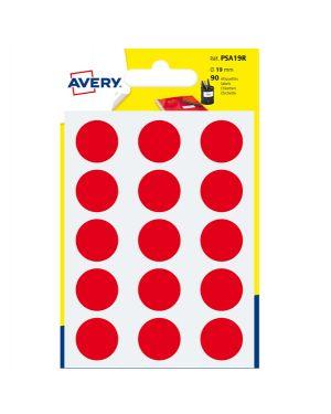 Blister 90 etichetta adesiva tonda PSA rosso Ø19mm Avery PSA19R