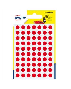 Blister 490 etichetta adesiva tonda psa rosso Ø8mm avery PSA08R  PSA08R by Avery
