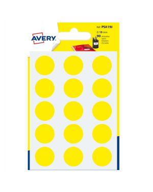 Blister 90 etichetta adesiva tonda psa giallo Ø19mm avery PSA19J