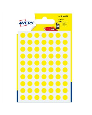 Blister 490 etichetta adesiva tonda psa giallo Ø8mm avery PSA08J  PSA08J by Avery
