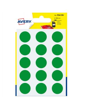 Blister 90 etichetta adesiva tonda psa verde Ø19mm avery PSA19V