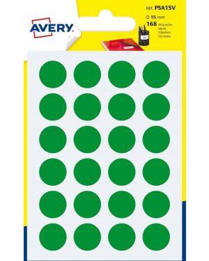 Blister 168 etichetta adesiva tonda psa verde Ø15mm avery PSA15V 5014702026355 PSA15V by Avery