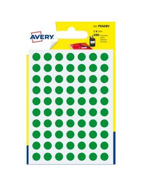 Blister 490 etichetta adesiva tonda psa verde Ø8mm avery PSA08V 5014702026294 PSA08V by Avery