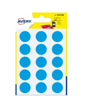 Blister 90 etichetta adesiva tonda psa blu Ø19mm avery PSA19B 5014702026416 PSA19B by Avery