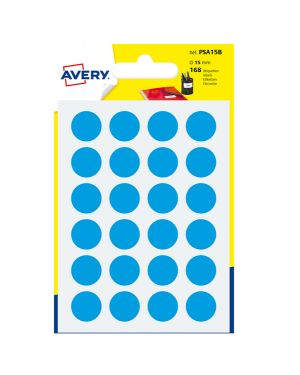 Blister 168 etichetta adesiva tonda psa blu Ø15mm avery PSA15B 5014702026348 PSA15B