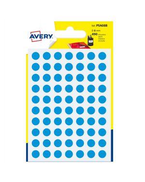 Blister 490 etichetta adesiva tonda PSA blu Ø8mm Avery PSA08B