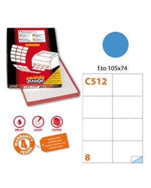 Etichetta adesiva c - 512 blu 100fg a4 105x74mm (8et - fg) markin X210C512BL 8007047024060 X210C512BL