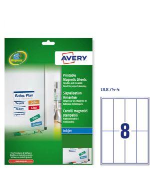 Etichette magnetiche bianche inkjet in A4 50x140mm (8et/fg - 5Fg) J8875 Avery J8875-5