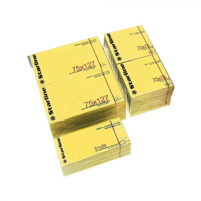 Blocchetto biglietti adesivi giallo 75x125mm 100fg 70gr starline Q900053 STL2529 A Q900053 by Starline