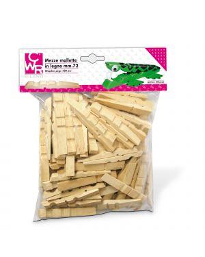 Sacchetto 100 mezze mollette legno 72mm art.1719 deco 1719 8004957002652 1719_66677 by No