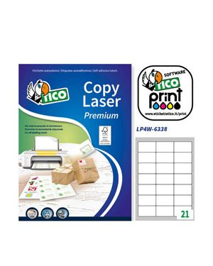 Etichetta adesiva lp4w bianca 100fg a4 63,5x38,1mm (21et/fg) laser tico LP4W-6338_83228