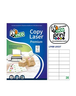 Etichetta adesiva lp4w bianca 100fg a4 105x37mm (16et - fg) laser tico LP4W-10537 8007827290234 LP4W-10537_83230