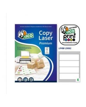 Etichetta adesiva lp4w bianca 100fg a4 190x61mm (4et/fg) laser Fico LP4W-19061_83235