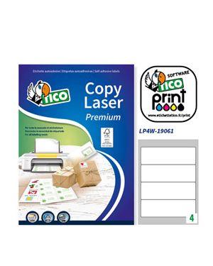Etichetta adesiva lp4w bianca 100fg a4 190x61mm (4et/fg) laser tico LP4W-19061_83235