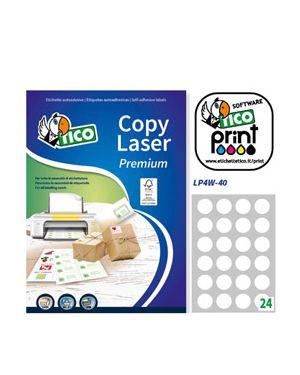 Etichetta adesiva lp4w bianca 100fg a4 tonda Ø40mm (24et - fg) laser tico LP4W-40 8007827291156 LP4W-40_83243