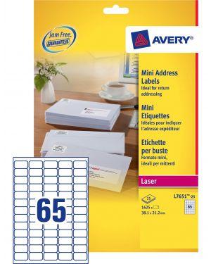 Etichette adesive l7651 bianche 25fg a4 38,1x21,2mm (65et - fg) laser avery L7651-25 5014702175428 L7651-25_45208