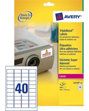 Poliestere adesivo extra l6140 bianco 20fg 45,7x25,4mm (40et - fg) laser avery L6140-20 4004182059814 L6140-20_58431