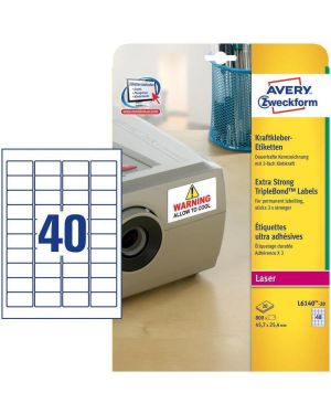 Poliestere adesivo extra l6140 bianco 20fg 45,7x25,4mm (40et - fg) laser avery L6140-20 4004182059814 L6140-20_58431