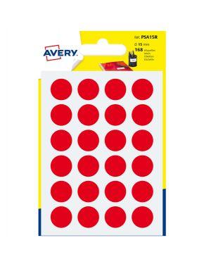 Blister 168 etichetta adesiva tonda psa rosso Ø15mm avery PSA15R 5014702026362 PSA15R_83401