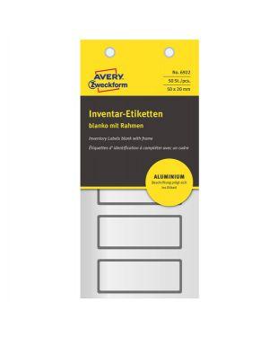 Etichetta inventario alluminio 50x20mm (5et/fg   10fg) 6922 avery 6922_83464