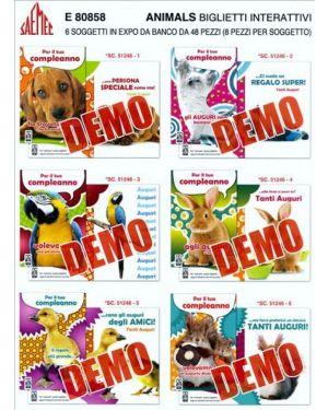 Biglietti interattivi animali in 6 sogg SAEMEC 80858 8009572086711 80858