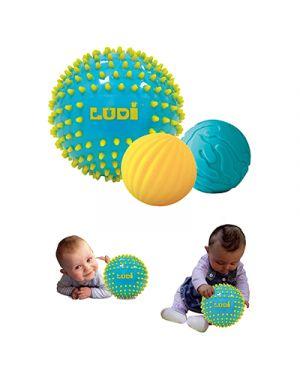 Set 3 palle sensoriali blu LUDI 30021 3550833300213 30021