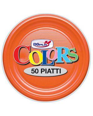 Piatti plastica frutta diametro 17,5 pz.50 arancio DOPLA 1669 8008650016695 1669