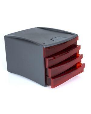 Cassettiera green2desk 4 cassetti cm. 25x28.6x37 trasparente rosso 19601