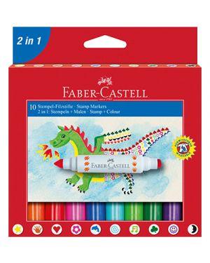 Pennarelli bipunta punta grossa e stampini sul retro 10 colori FABER CASTELL 155170 4005401551706 155170