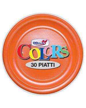 Piatti plastica piani diametro 22 pz.30 arancio DOPLA 1566 8008650015667 1566