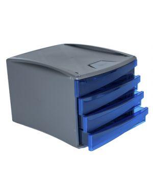 Cassettiera green2desk 4 cassetti cm. 25x28.6x37 trasparente blu FELLOWES 19501 0043859700103 19501