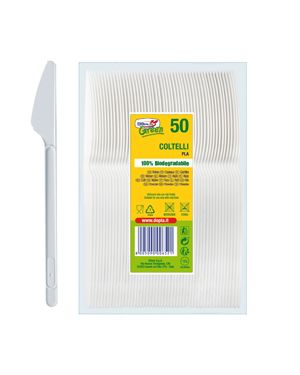 50 coltelli compact in pla bianco doplagreen 7714 8005090006521 7714 by Lebez