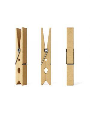 Confezione 50 mollettine in legno 25mm colore naturale deco 11687 8004957116878 11687 by Cwr