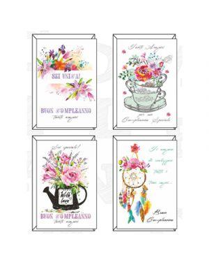 Biglietti buon compleanno oriental flower in 4 sogg SAEMEC 51367 8009572103975 51367