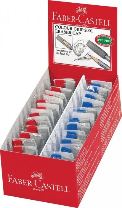 confezione da 10 Faber-Castell Grip 2001 Gomme da cancellare in gomma 6 blu e 4 rosso