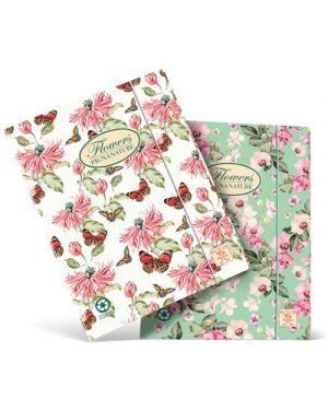 Cartellina  flowers protocollo 3 lembi c - elastico PIGNA 54797 8005235185647 54797