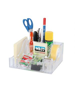 Desk organizer in abs 16x7,5x13 con dispenser nastro adesivo da 33 m LEBEZ 80180 8007509060834 80180 by Lebez