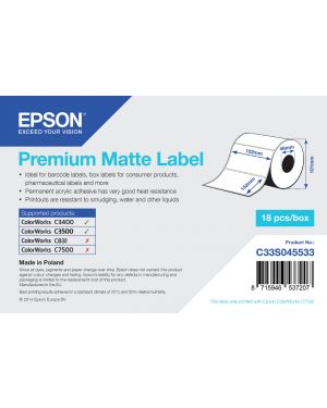 Premium matte label-die-cut EPSON - BS LABEL CONSUMABLES U4 C33S045533 8715946537207 C33S045533