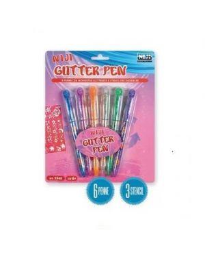 6 penne glitterate  col.3 stencil 5340