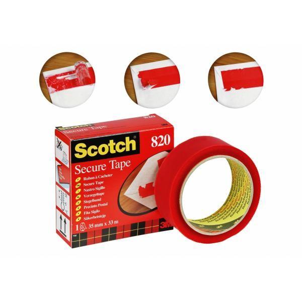 Adesivo 3m scotch secure tape antieffrazione 35x33 rosso 3M 93008 3134375014588 93008 by Scotch